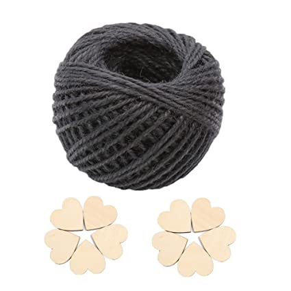 Cuerda de yute natural de estilo rústico, 10corazones de madera,