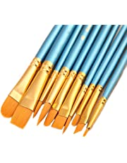 10 Pieces Synthetic Hair Paint Brush Set, Blue, for Acrylic, Oil and Watercolor Painting