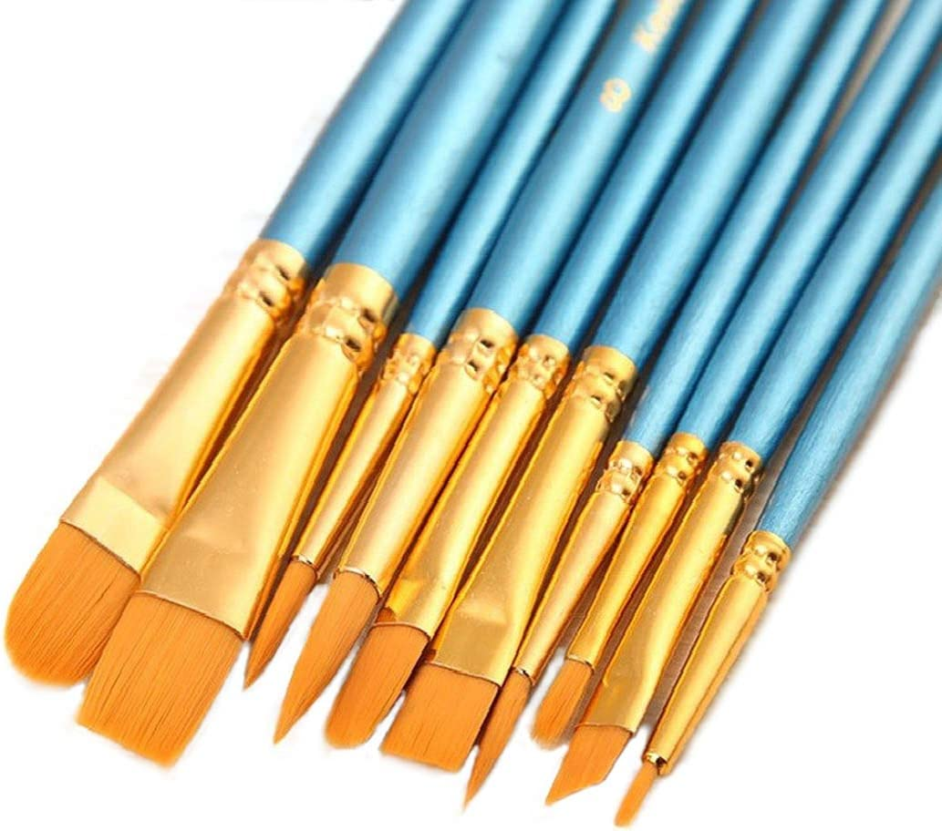 Synthetic Paint Brush Set for Acrylic Oil and Watercolor Painting 10 Pcs Blue
