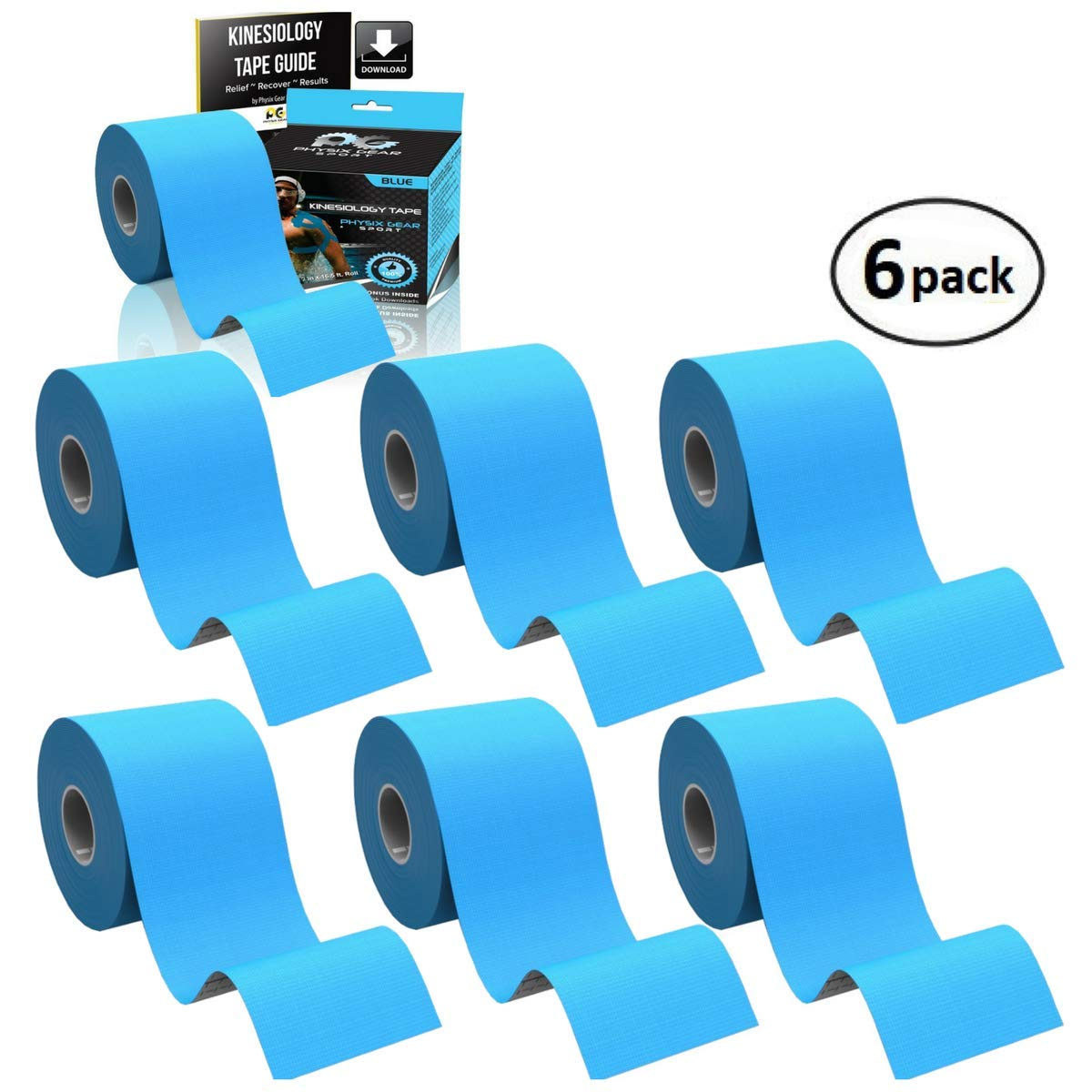 Physix Gear Sport 6 Pack Kinesiology Tape - Free Illustrated E-Guide - 16ft Uncut Roll - Best Pain Relief Adhesive for Muscles, Shin Splints Knee & Shoulder - 24/7 Waterproof Therapeutic Aid (Blue)