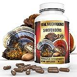 5 Defenders Organic Mushroom Extract Blend by Real Mushrooms – 90 Capsules – Chaga, Reishi, Shiitake, Maitake and Turkey Tail Mushroom Powder – Immune Defense