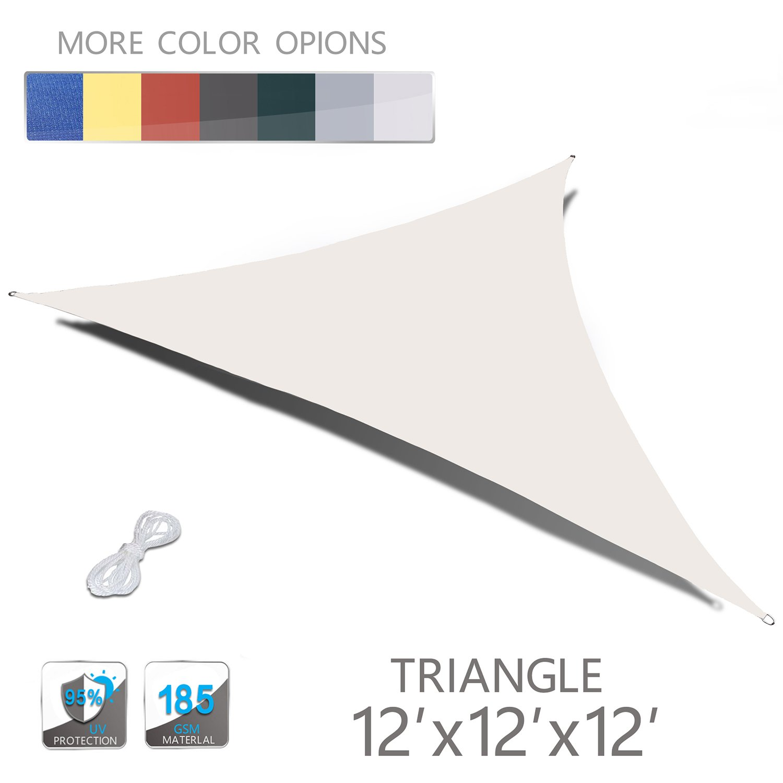 Love Story 12' x 12' x 12' Triangle Cream UV Block Sun Shade Sail Perfect for Outdoor Patio Garden