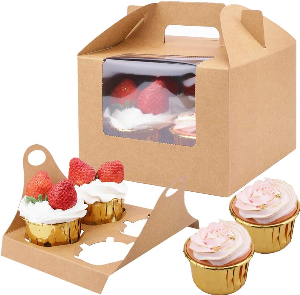 JOERSH Bakery Cupcake Boxes with Handles Hold 4, 20 Pack Food Grade White Paperboard Box with Window & Insert for Bakery Wrapping Party Favor Packing (Brown)
