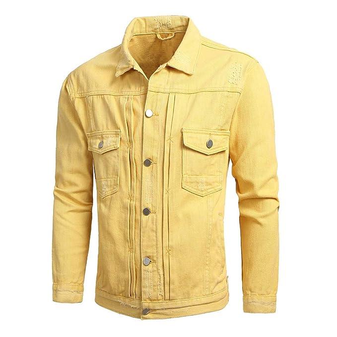 Cebbay Chaqueta de Mezclilla de los Hombres Bolsillo con Botones Camisa de Manga Larga Ropa de Deporte: Amazon.es: Ropa y accesorios