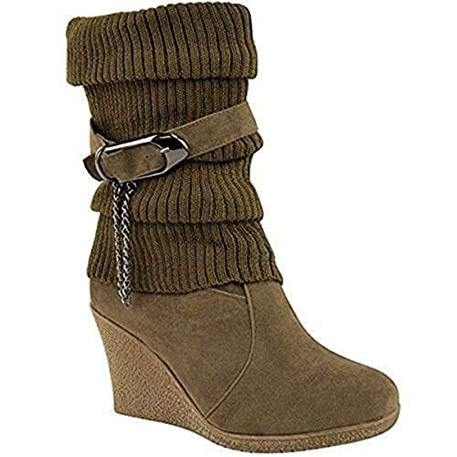 a35a00f36cd LADIES WOMENS MID HIGH WEDGE HEEL KNITTED WARM WINTER SLOUCH BIKER KNEE  CALF ANKLE BOOTS SIZE  Amazon.co.uk  Shoes   Bags