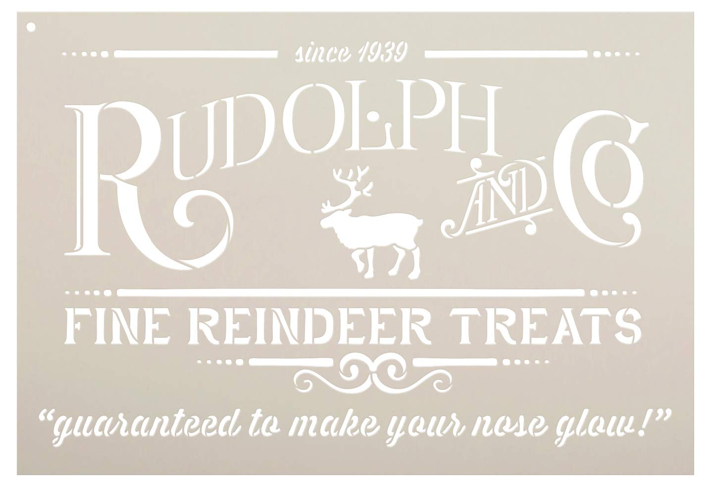 Rudolph and Co. Stencil by StudioR12 | Reindeer Treats Christmas Word Art - Reusable Mylar Template | Painting, Chalk | Use for Crafting DIY Christmas Signs for Holiday Decor (16 x 11) Studio R 12