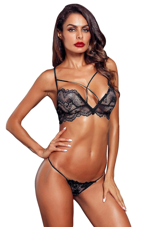 f6ef1d67f8d04 Amazon.com  Women 2-Pc Floral Lace Underwear Lingerie Straps Bralette and  Panty Set  Clothing