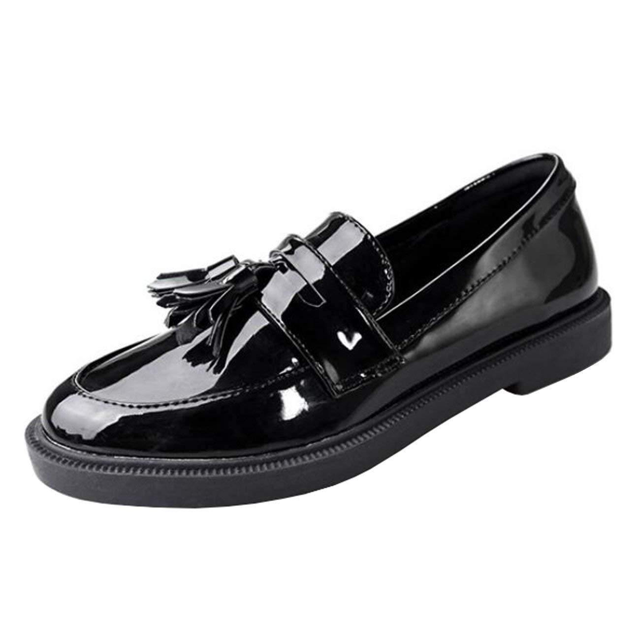 Fuxitoggo Damen Runde Toe Block-Heel Slip-On Quaste Loafers (Farbe   Schwarz Größe   7 UK)