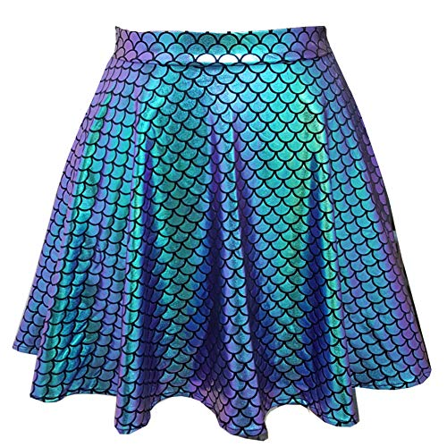 pinda Rave Outfits Iridescent Mermaid Party Supplies Holographic High Waisted Flare Skater Skirt (M, 369GMD)