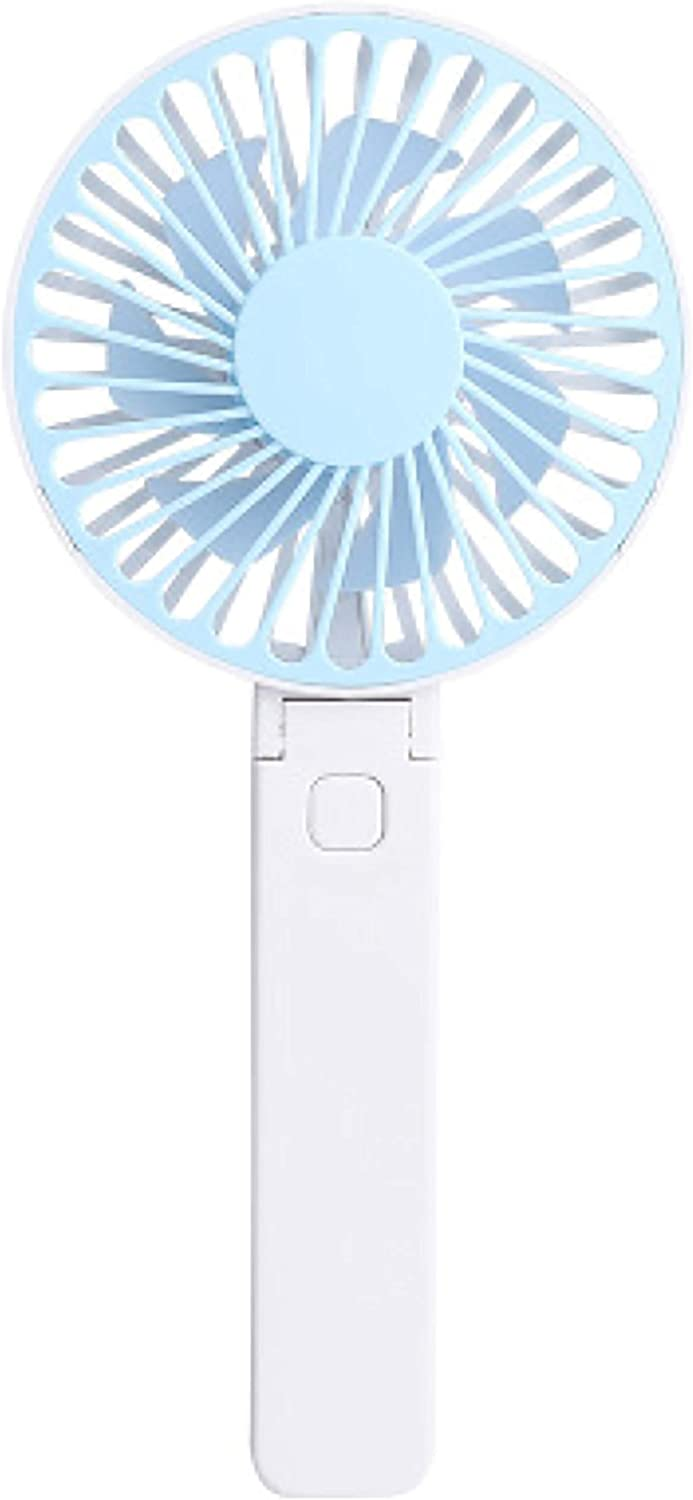 Folding Handheld Small Fan, Portable Handheld Pocket Fan Mini Desktop USB Charging Fan, Cooling Folding Electric Fan for Travel Office Room Household Black Pink Blue (Blue)