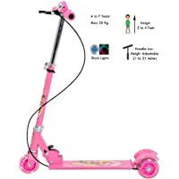 Hebrik™ Kick Scooter 3 Wheel,Height Adjustable Folding with PU LED Light Up Wheels for Children Tricycle for Indoor & Outdoor Fun with Brake,Bell,LED and Adjustable Height for Kids(2-10 Years)