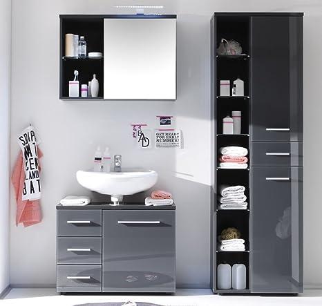 Trend Moebel Badmobel 3 Tlg Set Badezimmer Hochschrank Unterschrank Spiegelschrank Grau Neu