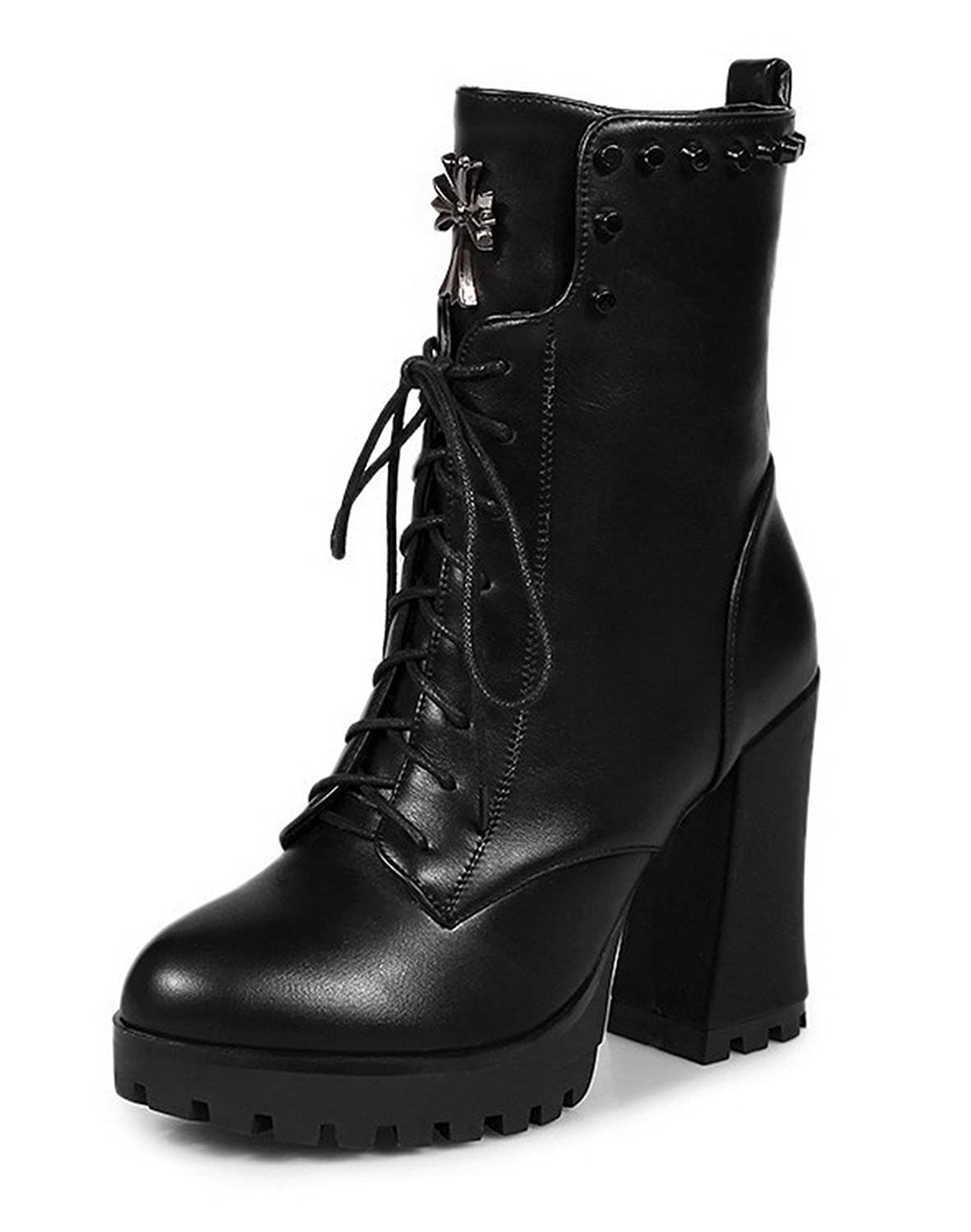 AllhqFashion Women's High-Heels Solid Round Closed Toe Soft Material Zipper Boots