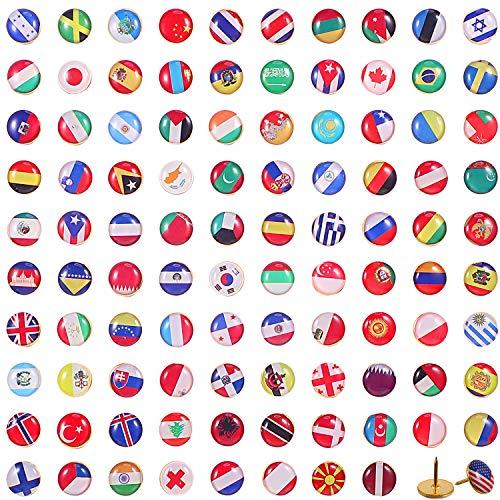 100 Pieces Creative Push Pins National Flag Thumb Tacks Country Map Push Pins for Bulletin Board, Map, Office (Flag Thumb Tacks)
