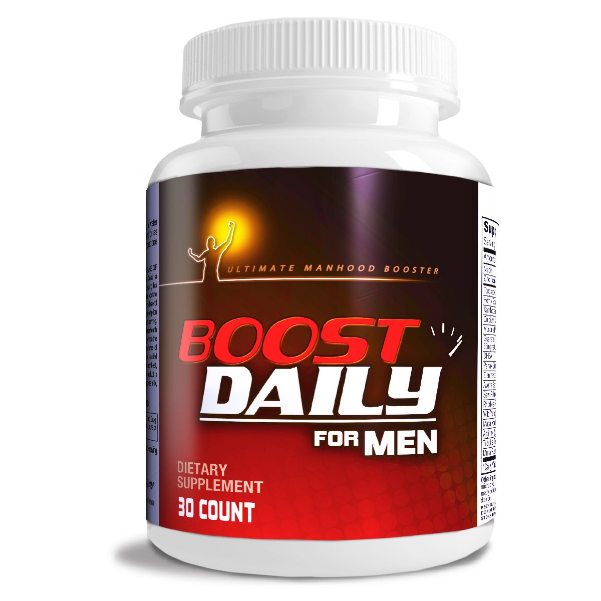 Boost Daily For Men COMPLETE Natural Male Health Formula MAXIMUM Male Health Support blend of natural ingredients in One Daily Male Health Supplement.