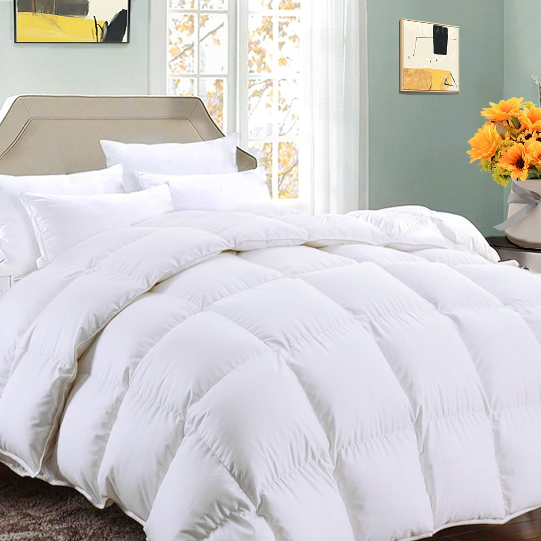 Queen Comforter Soft Summer Cooling Goose Down Alternative Duvet Insert 2100 Hypoallergenic Quilt with Corner Tab for all Season, Prima Microfiber Filled Reversible Hotel Collection,White,88 X 88 inch