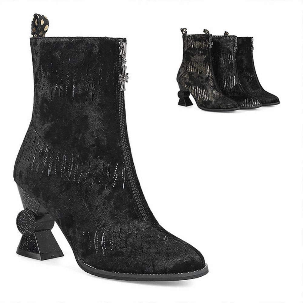 ZHRUI Damenschuhe - Britische hochhackige Mode Stiefel Winter warme Martin Stiefel   35-43 (Farbe   Schwarz, Größe   EU 40)
