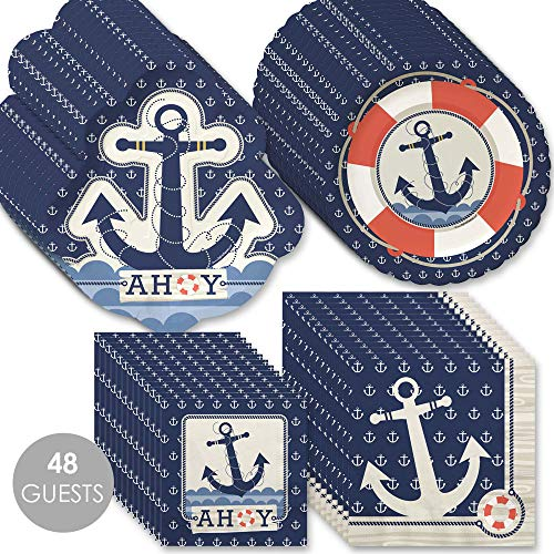Big Dot of Happiness Ahoy - Nautical - Baby Shower or Birthday Party Tableware Plates and Napkins - Bundle for 48
