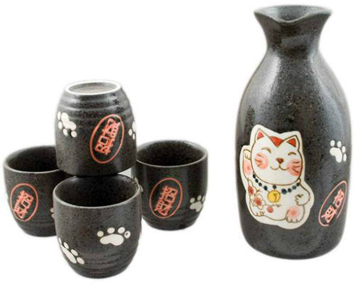 Happy Sales HSSB-LKCBLK, Japanese Design Lucky Cat Fortune Cat Maneki Neko Porcelain Sake set, Black