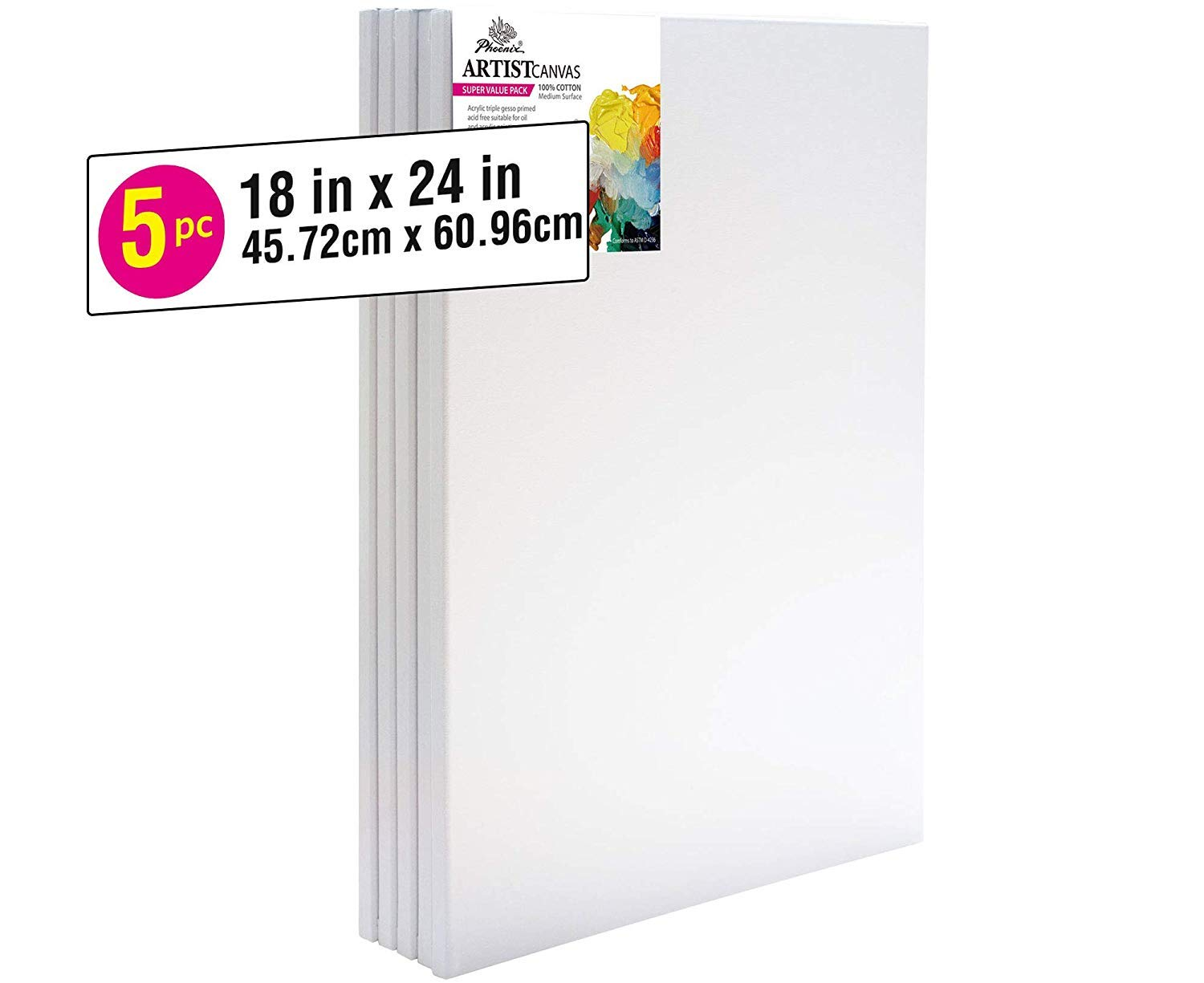 PHOENIX Pre Stretched Canvas for Painting - 18x24 Inch / 5 Pack - 5/8 Inch Profile of Super Value Pack for Acrylics, Oils & Other Painting Media