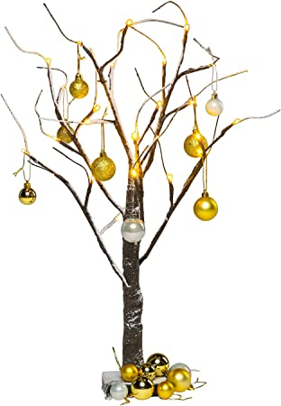 2ft//70cm Jaymark Products Snowy Effect Brown Christmas Twig Tree 16 pack of baubles included
