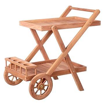 Carro botellero de jardín marrón de Teca Garden - LOLAhome: Amazon.es: Hogar