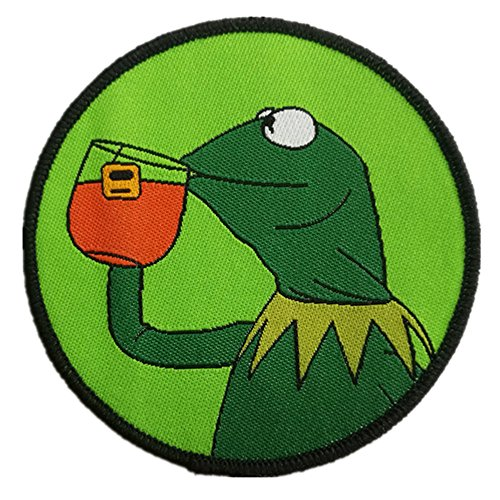 Gudeke Kermit None My Business Frog Sipping Tea Patches Embroidery