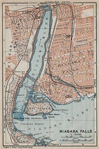 Amazon Com Niagara Falls Antique Town City Plan New York