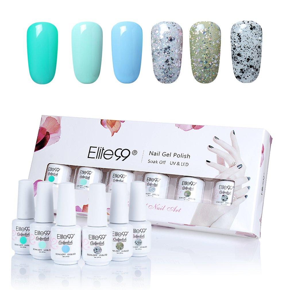 Elite99 Gel Nail Polish Set Soak Off UV LED Varnish Manicure 6 Colours Nail Art Gift Kit Bailun