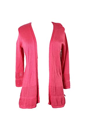 Jm Collection Perfect Rose Open Front Knit Pattern Cardigan Xl At