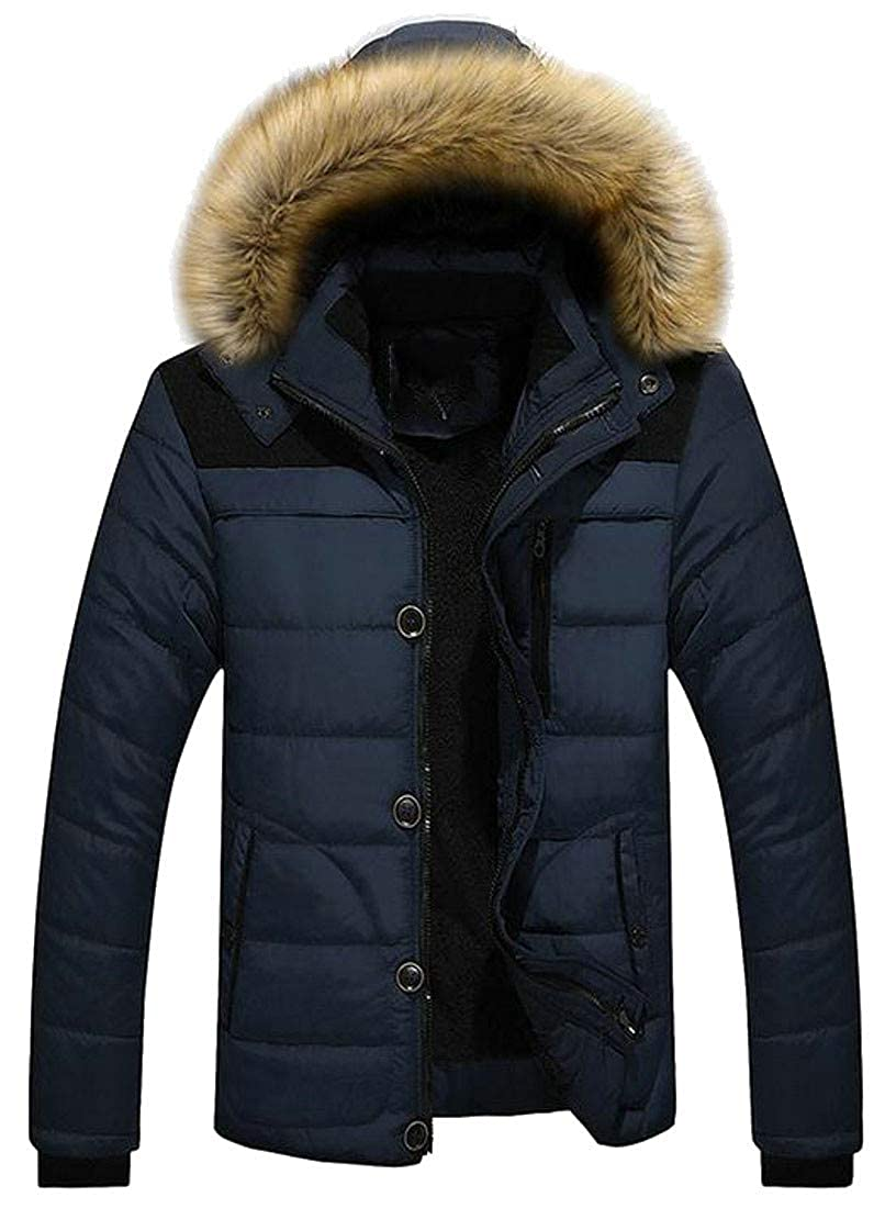 Agana Mens Winter Fleece Lined Overcoat Warm Quilted Faux Fur Hooded Parka Coat