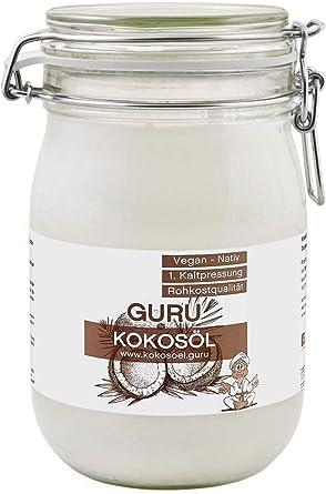 Guru Kokosöl nativ und naturrein -Bio Qualität- 1. Kaltpressung - Rohkost - Vegan - Bio-Kokosfett, (1000ml Bügel-Glas)