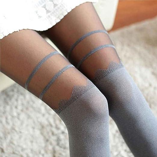 korowa calcetín de medias de las mujeres Sexy gasa falso alta ...