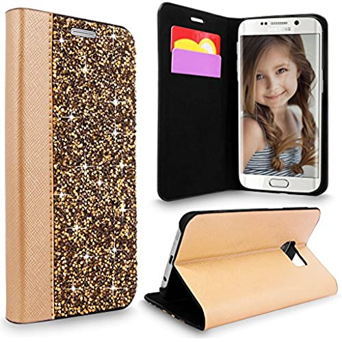 S7 Edge Case, Galaxy S7 Edge Case, Cellularvilla [Diamond] Luxury Rock Crystal Rhinestone PU Leather Wallet Case Sales