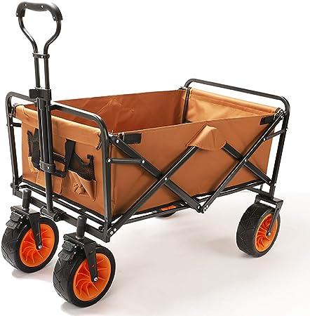 Carro De Jardín Plegable Carro De La Compra En La Playa/Almacenamiento Masivo/Neumático De Ensanchamiento + Freno/Carga: 80 Kg/Brown: Amazon.es: Hogar