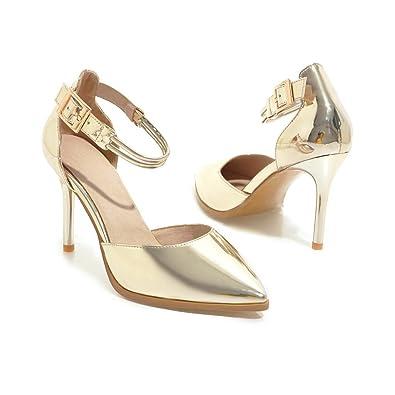 MEI&S Chaussures Femmes Talons Sandales Sangle de Cheville,Blanc 34