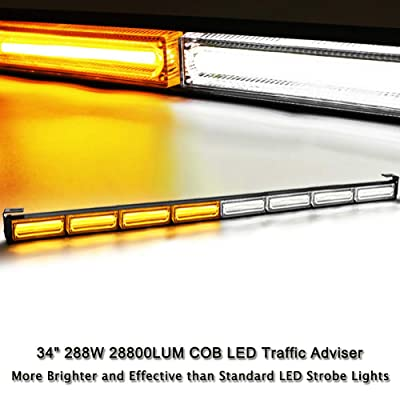 "34"" 8 COB LED 13 Flashing Strobing Modes High Intensity Law Enforcement Traffic Advisor Emergency Hazard Warning Vehicle Strobe Light Bar Kit. 288W 28800LUM Bright Linear LED Strobe Signal Light Bar: Automotive"