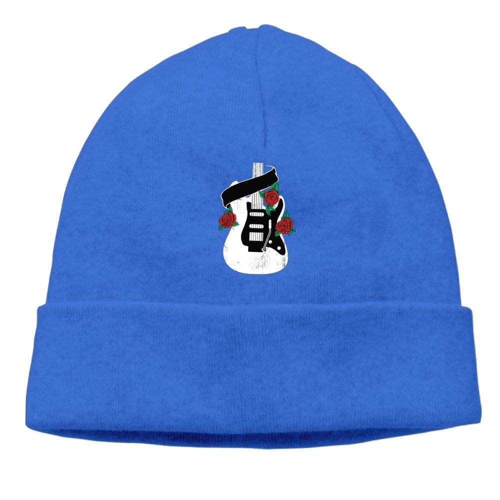 Poii Qon Rose Guitar Beanies Hats Knit Cap Woman Man