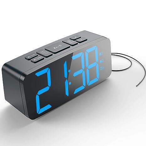 HAPTIME Digital Alarm Clock with FM Radio Dual-Alarm Snooze ...