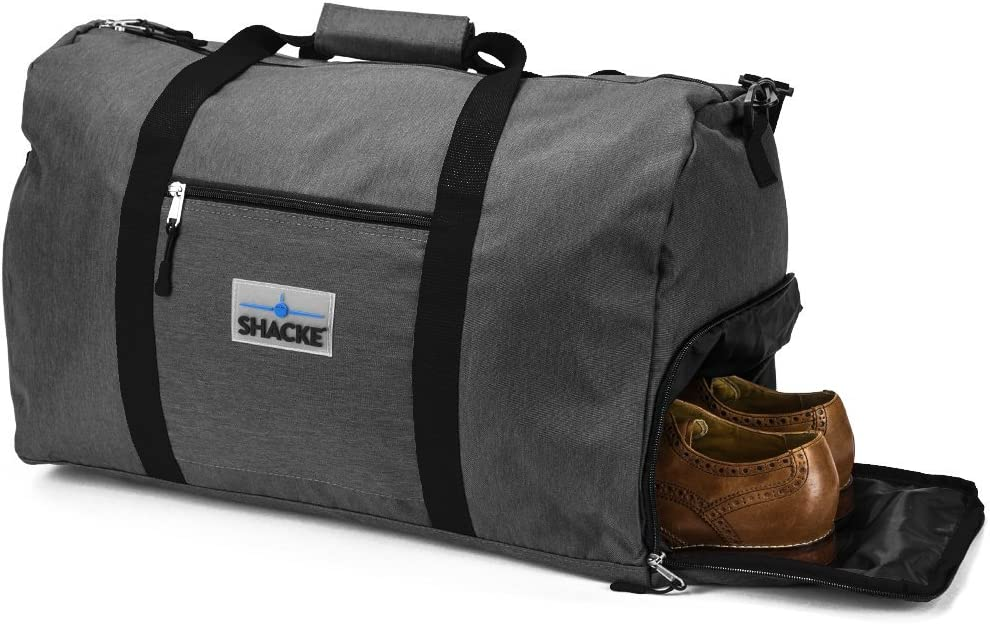 Shacke's Travel Duffel Express Weekender Bag – Carry On Luggage with Shoe Pouch (38L, Dark Gray)