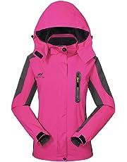 GIVBRO, giacca da donna impermeabile, softshell,nuovo design 2018 multifunzionale, traspirante, con cappuccio, ideale per campeggio, arrampicata