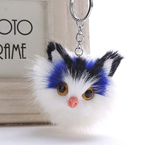 Artificial Cat Fur Ball Keychain Ear Pom Key Chain Bag Charm ...