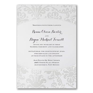 Amazon Com 525pk Pearlized Filigree Border Invitation Wedding