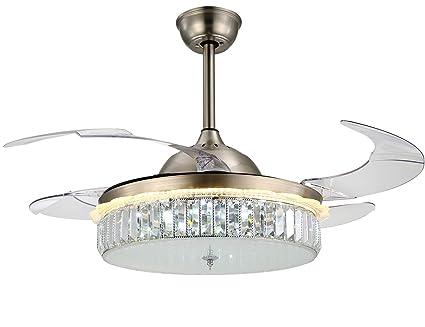 Moooni 42 Inch Modern Ceiling Fans Dining Room Fan Chandelier Lighting  Retractable Blades Fandelier With Light
