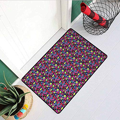 GloriaJohnson Abstract Inlet Outdoor Door mat Watercolor Style Colorful Daisy Pattern with Blue Toned Background Doodle Petals Catch dust Snow and mud W29.5 x L39.4 Inch Multicolor