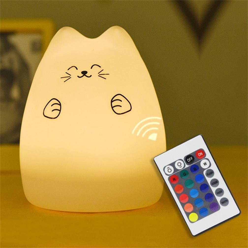 Kixing(TM) 7 Color Changing Cute Silicone Lucky cat LED Night Light Creative USB Recharge Lamp