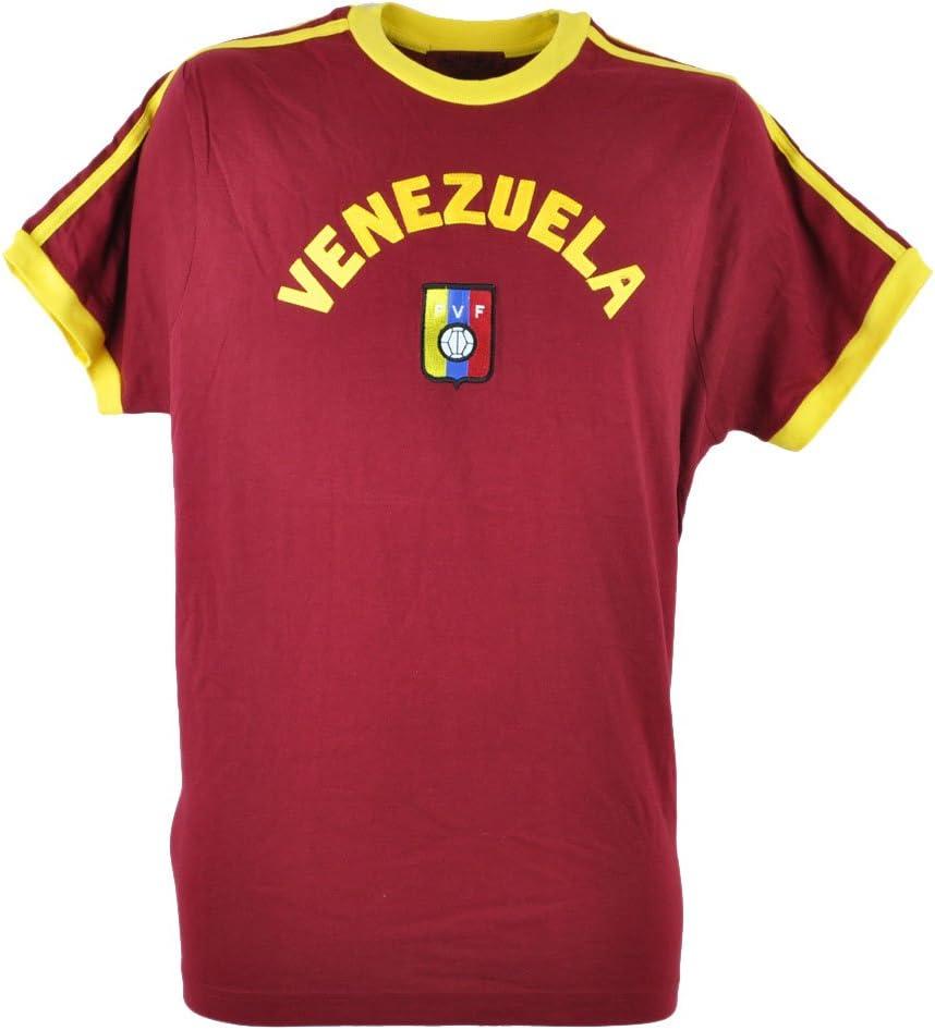 Copa del Mundo de Venezuela Tee Camiseta Fútbol granate Futbol para hombre la Vinotinto, M, Maroon - Yellow: Amazon.es: Deportes y aire libre