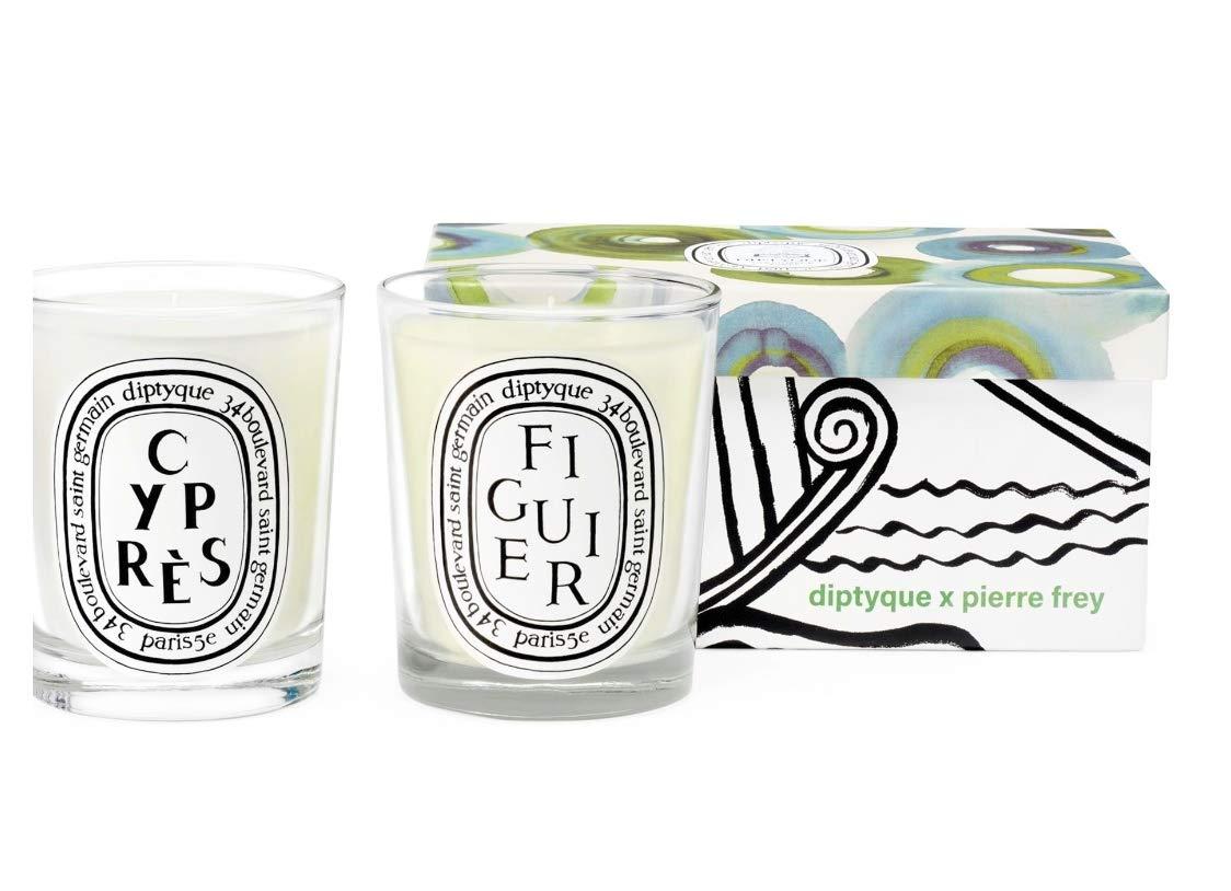 Diptyque x Pierre Frey Figuier & Cypress Set in decorative box. 190g / 6.5 oz each.