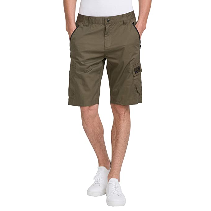 "2cf98cdddf bossini Green Selection Mens Solid Flat Front Cargo Shorts 33, Waist  35"" ..."