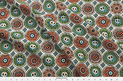 Spoonflower Skulls Fabric - Skulls Day of The Dead Halloween Mexico Sept2016sugarskulls Sugar Skulls Calaveras - by Chris Jorge Printed on Basic Cotton Ultra Fabric by The Yard
